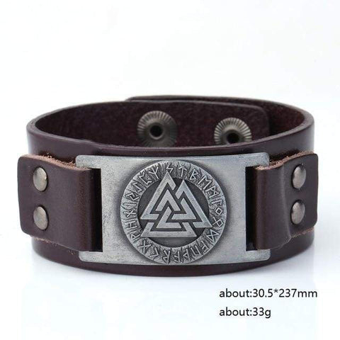 Image of Valknut Leather Bracelet - Sliver Plated Dark Brown Belt - Wrap Bracelets Accessories Bracelet Jewelry Viking Vikings