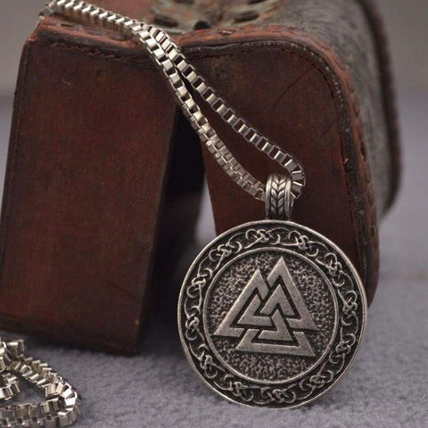 Image of Valknut Norse Necklace - Viking Necklace Jewelry Necklace Vikings