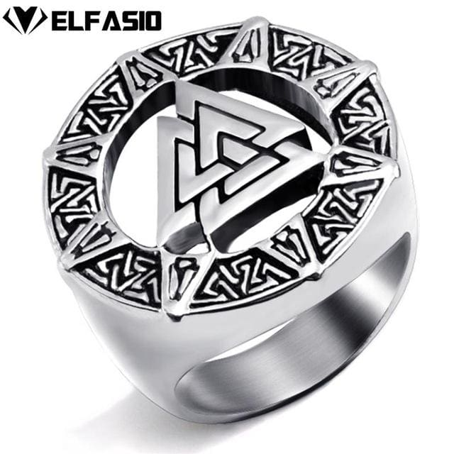 Valknut Viking Ring - Stainless Steel - 10 / Silver - Rings Jewelry Rings Vikings