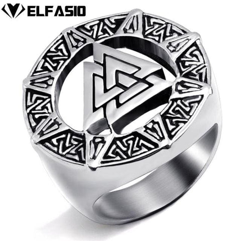 Image of Valknut Viking Ring - Stainless Steel - 10 / Silver - Rings Jewelry Rings Vikings