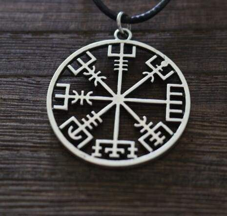 Image of Vegvisir Compass Pendant - Antique Silver Plated - Viking Necklace Jewelry Necklace Vikings