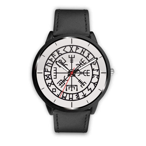 Image of Vegvisir Viking Compass White Watch - Mens 40Mm / Black - Watch Vikings Watch