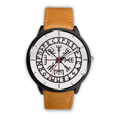 Image of Vegvisir Viking Compass White Watch - Mens 40Mm / Brown - Watch Vikings Watch