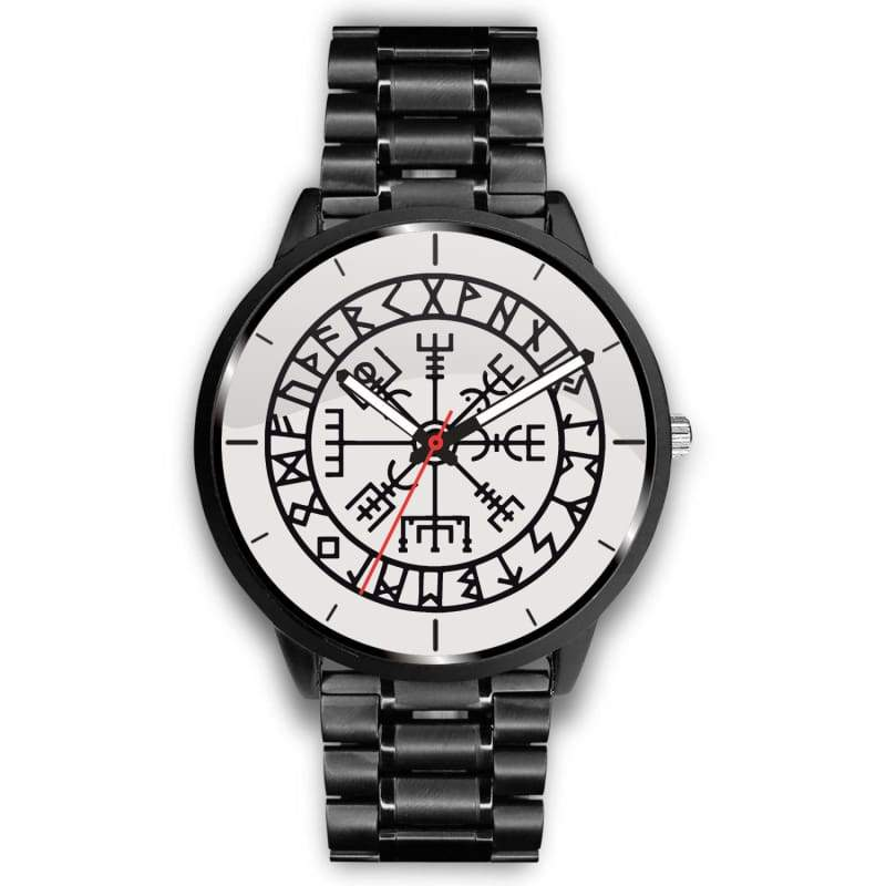 Vegvisir Viking Compass White Watch - Mens 40Mm / Metal Link - Watch Vikings Watch