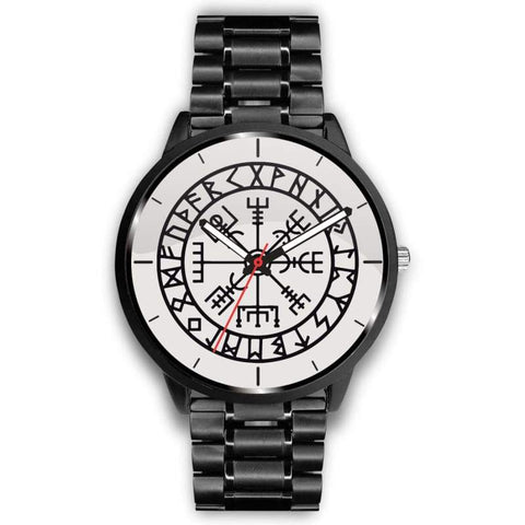Image of Vegvisir Viking Compass White Watch - Mens 40Mm / Metal Link - Watch Vikings Watch