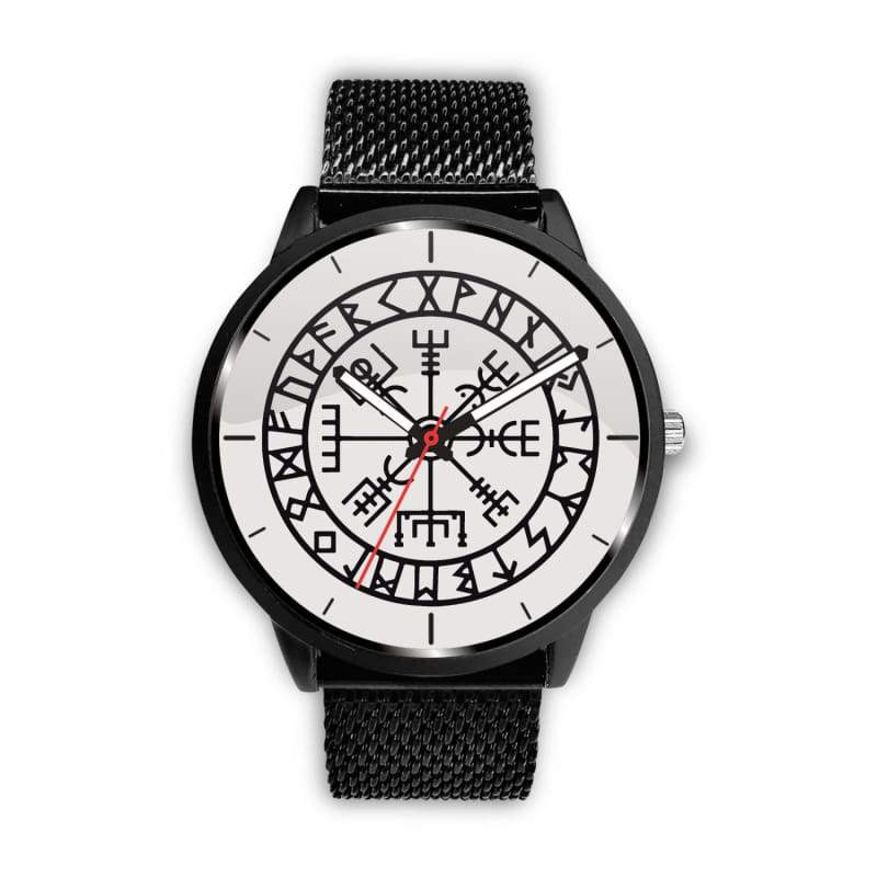 Vegvisir Viking Compass White Watch - Mens 40Mm / Metal Mesh - Watch Vikings Watch