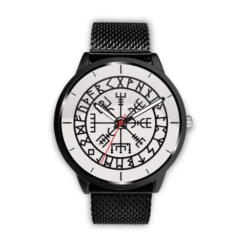 Image of Vegvisir Viking Compass White Watch - Mens 40Mm / Metal Mesh - Watch Vikings Watch