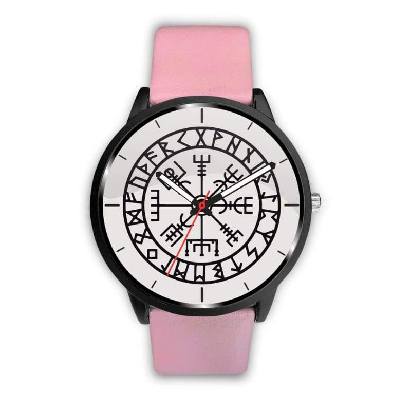 Vegvisir Viking Compass White Watch - Mens 40Mm / Pink - Watch Vikings Watch