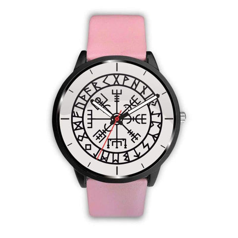 Image of Vegvisir Viking Compass White Watch - Mens 40Mm / Pink - Watch Vikings Watch