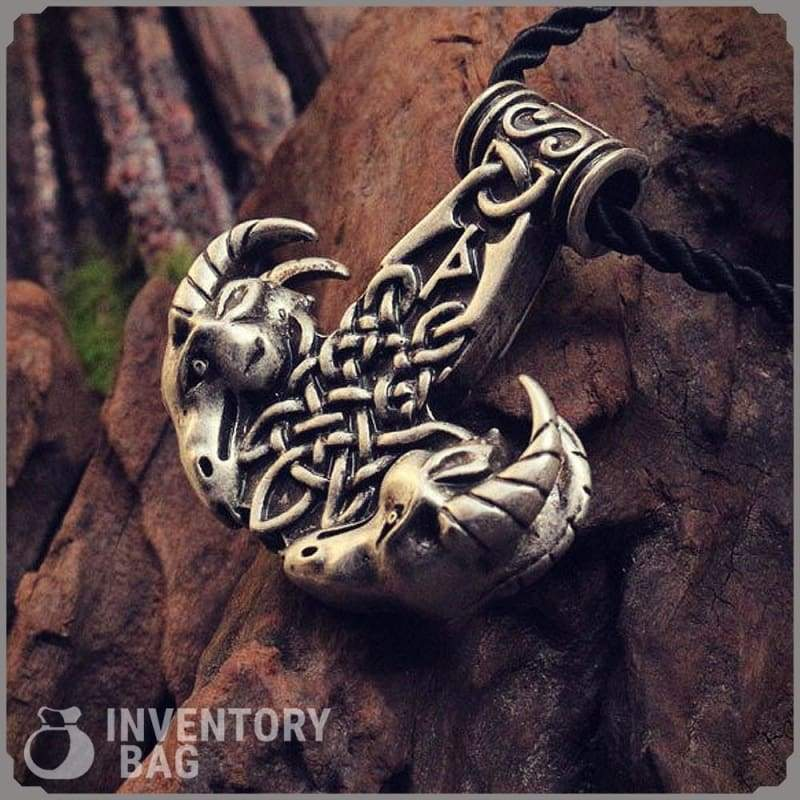 Viking Goat Hammer Pendant - Pendants Jewelry Necklace Vikings