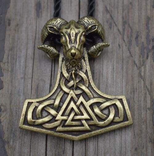 Viking Goat Mjolnir - Antique Bronze Plated - Chain Necklaces Jewelry Vikings