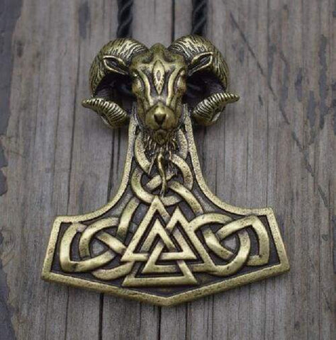 Image of Viking Goat Mjolnir - Antique Bronze Plated - Chain Necklaces Jewelry Vikings