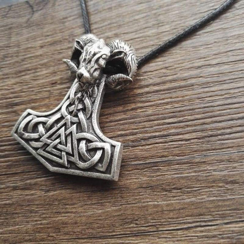 Image of Viking Goat Mjolnir - Chain Necklaces Jewelry Vikings