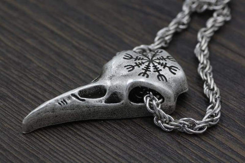 Image of Viking Helm Of Awe Ravenskull - Pendant Necklaces Jewelry Vikings