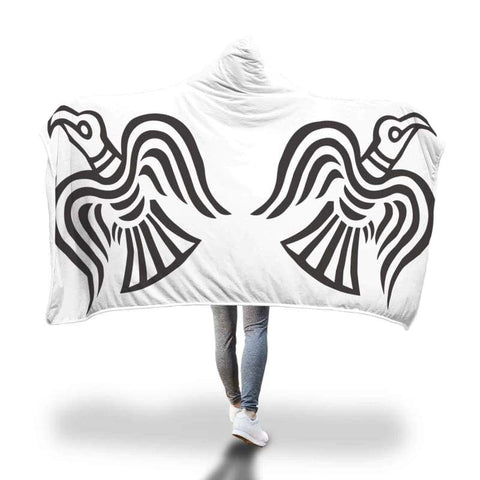 Image of Viking Ravens Hooded Blanket - Hooded Blanket Blankets Hooded Blankets