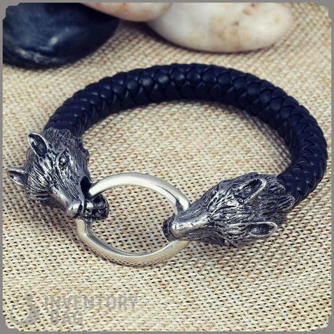 Wolf Head Bangle - Charm Bracelets Bracelet Vikings