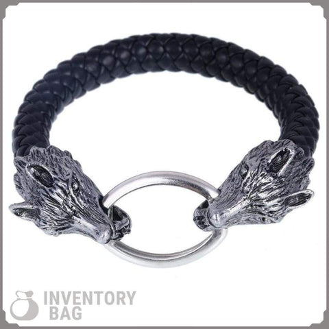 Image of Wolf Head Bangle - Charm Bracelets Bracelet Vikings
