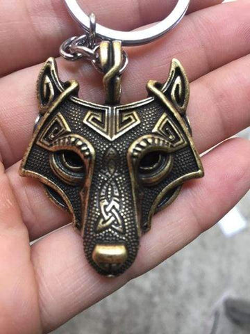 Image of Wolf Head Keychain - Silver - Keychain Vikings