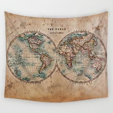 Image of World Map Tapestry - 1 / 150X130Cm - Tapestry Blankets Tapestry