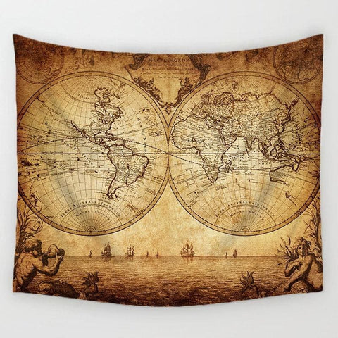 Image of World Map Tapestry - Tapestry Blankets Tapestry