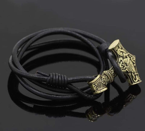 Yellow Mjolnir Adjustable Leather Bracelet - Bracelet Vikings