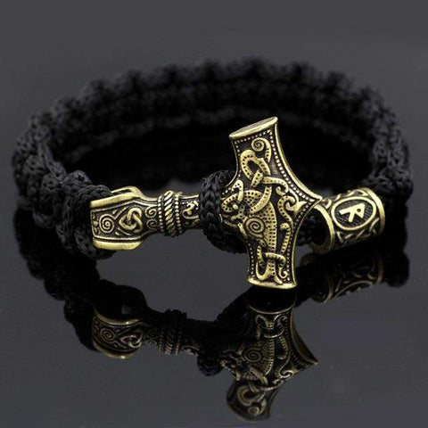 Image of Yellow Mjolnir Rune Bracelet - Raido - Bracelet Vikings