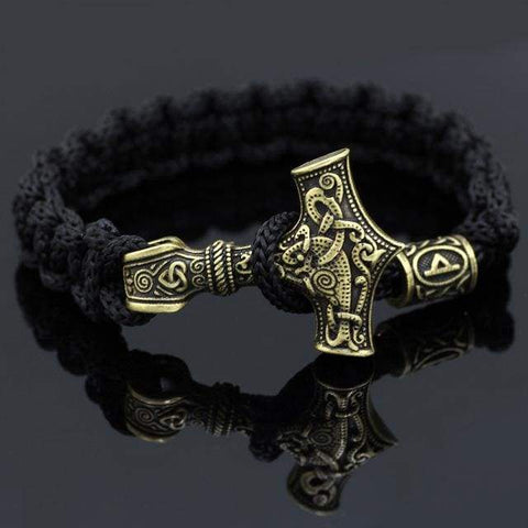 Image of Yellow Mjolnir Rune Bracelet - Thurisa - Bracelet Vikings