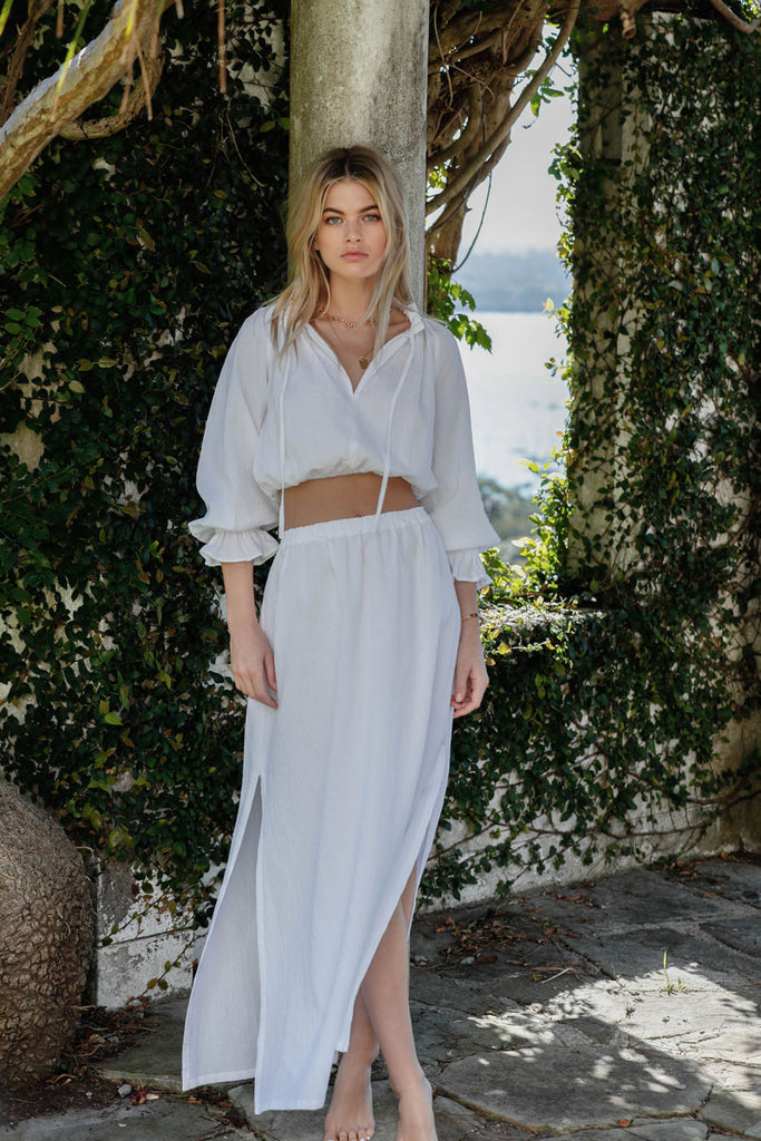 LOVE LETTERS MAXI SKIRT - WHITE