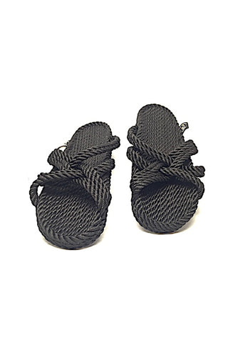 NOMADIC SLIP ON ROPE SANDAL - BLACK