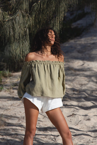 NIA OFF THE SHOULDER TOP - OLIVE