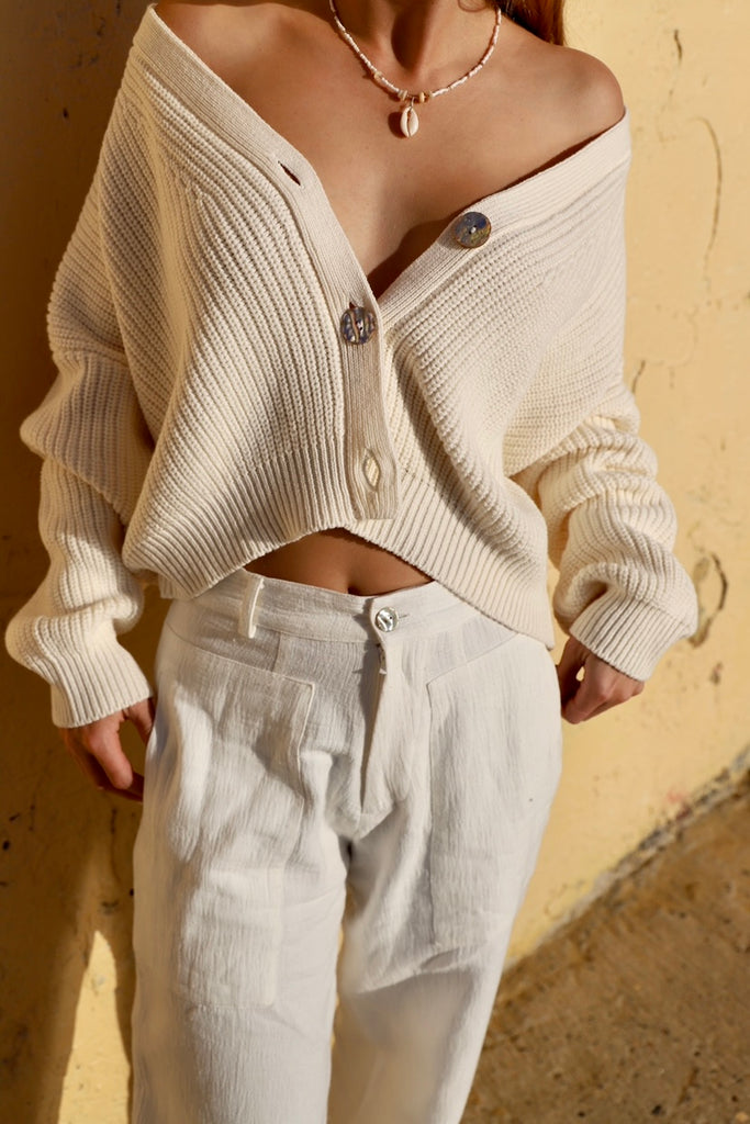 CROPPED LUNAR CARDIGAN - CREAM