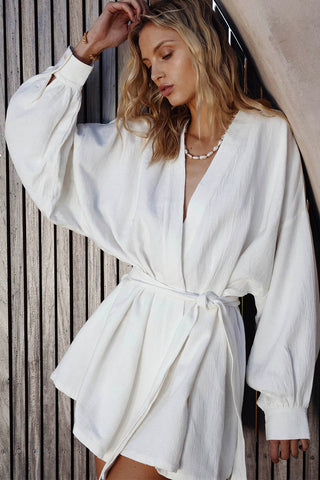 NALA KIMONO MINI DRESS - WHITE