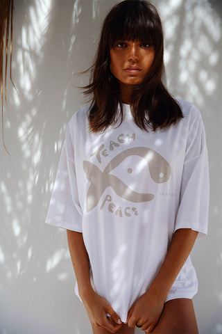 TEACH PEACE TEE - WHITE