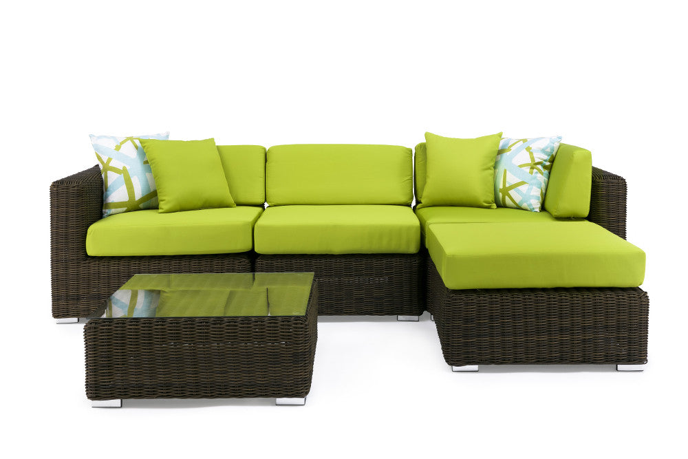 Byron Outdoor Aluminium Wicker Corner Sofa Patio Set