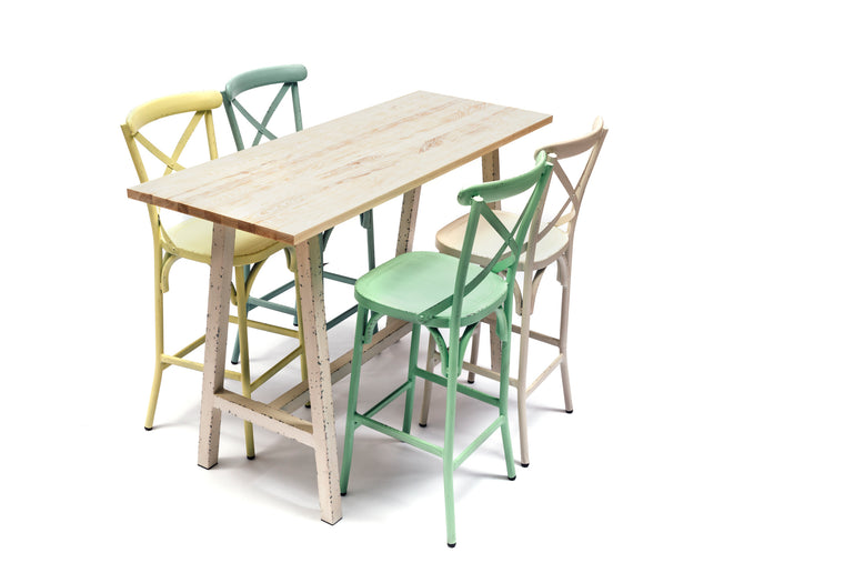 Capel 4 Seat Outdoor Aluminium and Ash Wood Bar Set