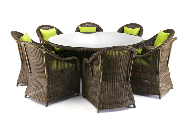 Saba 9 Piece Round Outdoor Wicker Dining Set