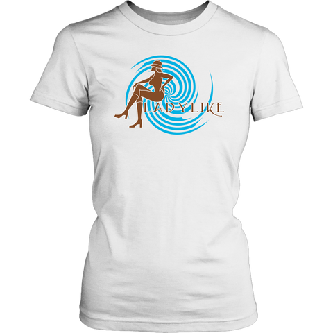 Ladylike Womens T-shirt-Brown and Turquoise