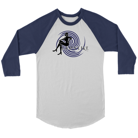Ladylike 3/4 Raglan Womens T-shirt-Black and Navy