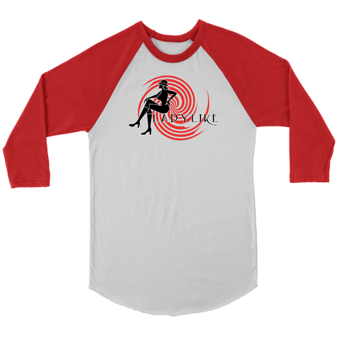 Ladylike 3/4 Raglan Womens T-shirt-Black and Red