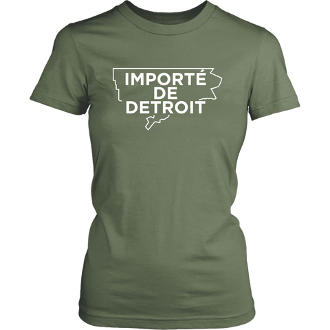 Importe de Detroit military green and white womens T-shirt