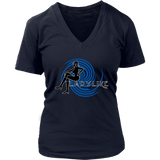 Ladylike V-Neck Womens T-shirt-Black and Royal