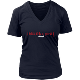 The Blackfokapparel Definition Red Logo Navy Women's V-Neck T-Shirt
