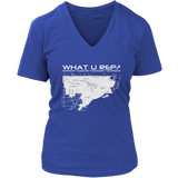 What U Rep? Detroit Womens V-Neck T-shirt - Multiple Colors