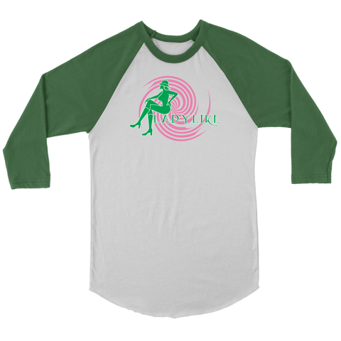 Ladylike 3/4 Raglan Womens T-shirt-Pink and Green