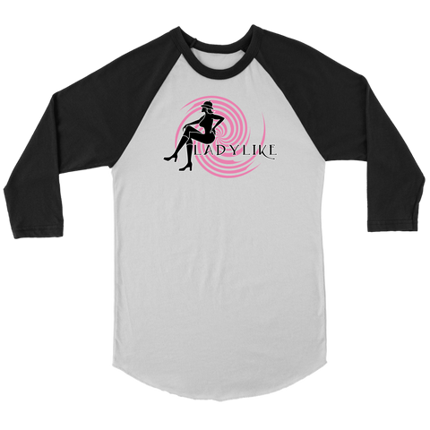 Ladylike 3/4 Raglan Womens T-shirt-Black and Pink