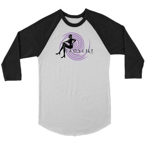 Ladylike 3/4 Raglan Womens T-shirt-Black and Purple