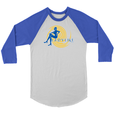 Ladylike 3/4 Sleeve Raglan Women's T-shirt – Royal Blue and Gold