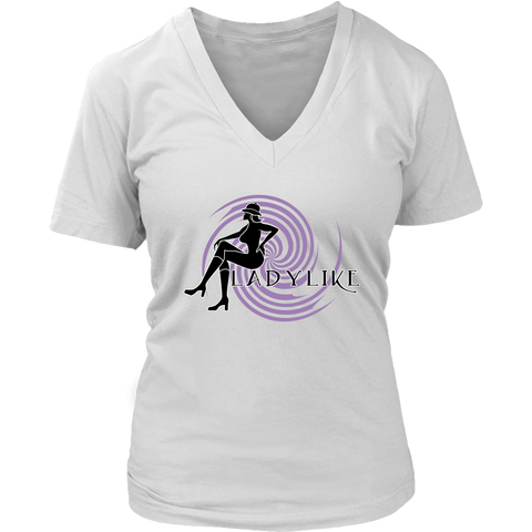 Ladylike V-Neck Womens T-shirt-Black and Purple