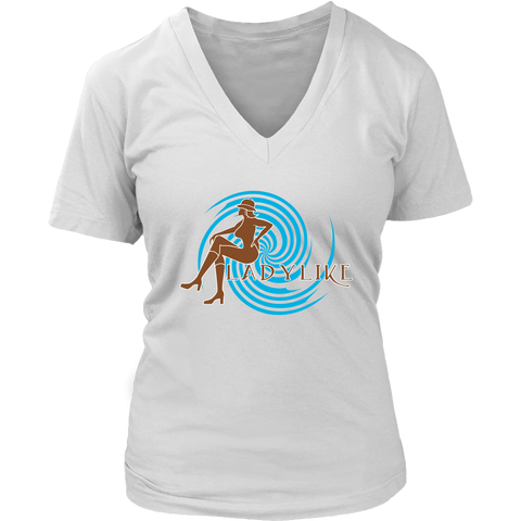 Ladylike V-Neck Womens T-shirt-Brown and Turquoise