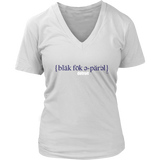 The Blackfokapparel Definition Navy Logo Women's White V-Neck T-Shirt